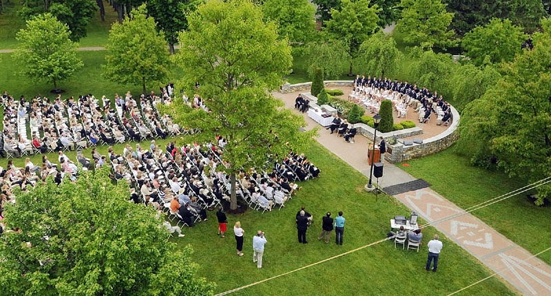 Graduation ceremonies at Kents Hill School were held outdoors on Saturday morning in Readfield.