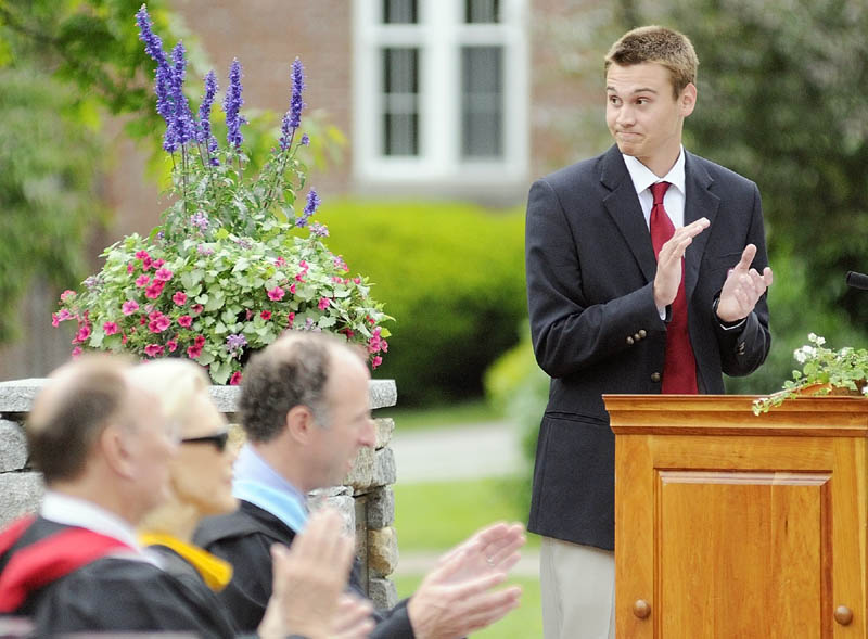 Student Body President Brandon Bourgeois, of the Canadian province of New Brunswick, spoke during Kents Hill School graduation on Saturday morning in Readfield. He told the crowd that he and his classmates have grown from