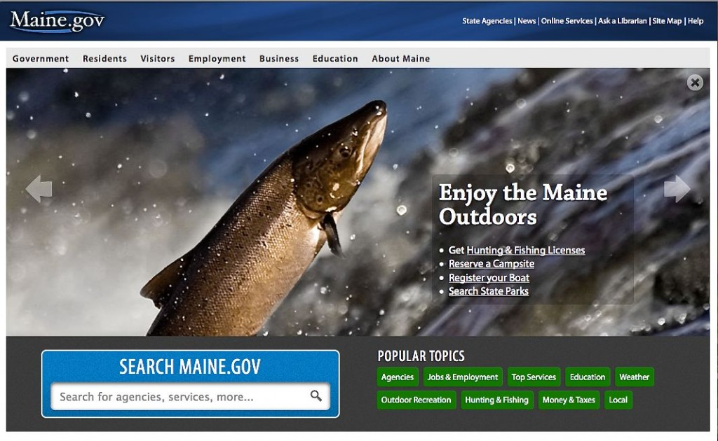 A screen image from the homepage of the new Maine.gov website.