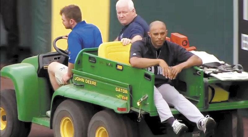 AP photo OUT FOR NOW: In this image taken from video, New York Yankees' closer Mariano Rivera is carted off the field after twisting his right knee shagging fly balls during batting practice before Thursday in Kansas City, Mo. Rivera tore the ACL in his right knee. The 42-year-old said he will play next season.