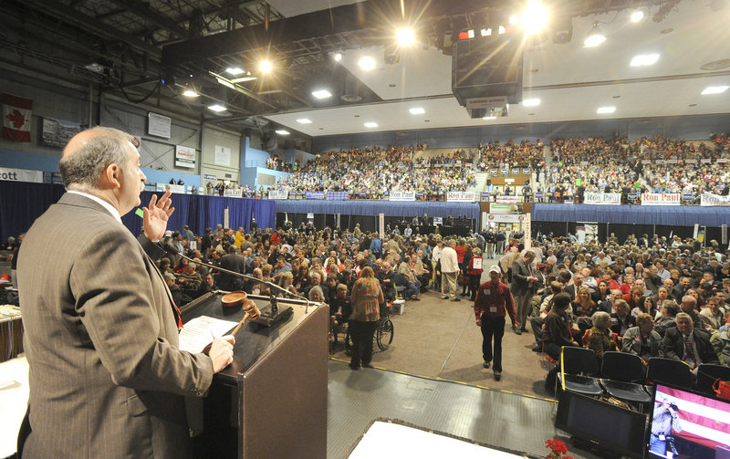 Republican Party state chairman Charles Webster addresses the GOP State Convention at the Augusta Civic Center on Saturday.