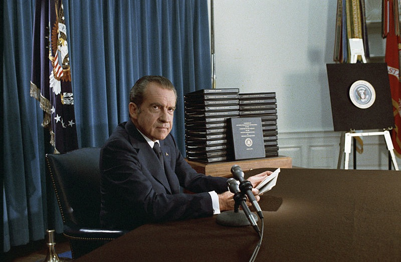 President Richard Nixon announces the release of edited transcripts of the Watergate tapes, April 29, 1974.