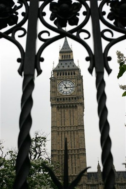 This is a July 5, 2006 file photo of the London landmark Big Ben in London. The iconic Clock Tower of Britain's Parliament, better known though incorrectly as Big Ben, is being renamed in honor of Queen Elizabeth II, authorities said Tuesday June 26, 2012. One of Britain's most recognizable landmarks, the 315-foot (96-meter)-high structure will now formally be known as Elizabeth Tower following a campaign by lawmakers to mark the monarch's Diamond Jubilee celebrations. (AP Photo/Sang Tan, File)