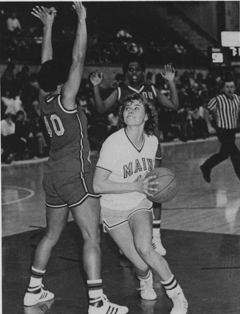Emily Ellis, in her days as a University of Maine basketball player, A member of the Maine Sports Hall of Fame, her No. 40 was the first number retired by the Black Bears.