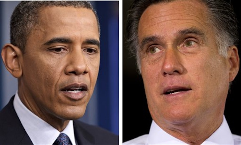 In 2012 file photos President Barack Obama, left, Talks to reporters in Washington on June 8 and former Massachusetts Gov. Mitt Romney speaks during a campaign stop in Cincinnati, Ohio, on June 14. When it comes to the economy, half of Americans in a new poll say it won't matter much whether Barack Obama or Mitt Romney wins the presidential election. (AP Photo/Scott Applewhite, left, and Evan Vucci, file)