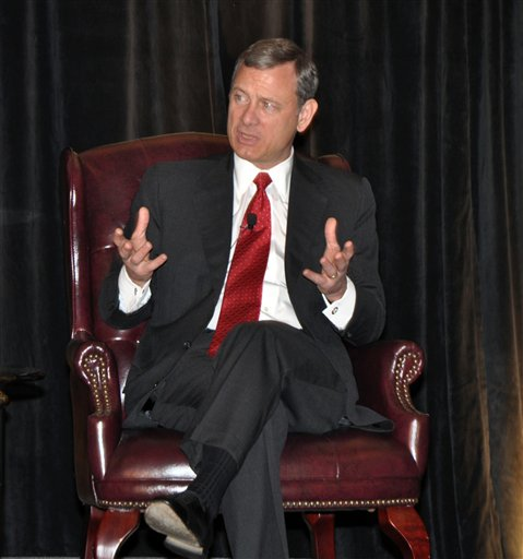 U.S. Supreme Court Chief Justice John Roberts, participating today in a program by the Judicial Conference of the District of Columbia Circuit in Farmington, Pa.