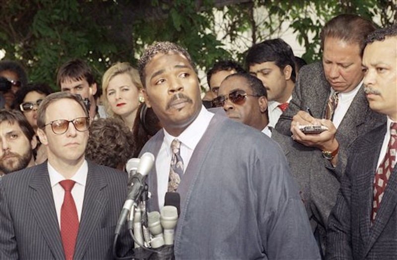 This May 1, 1992 file photo shows Rodney King making a statement at a Los Angeles news conference. King, the black motorist whose 1991 videotaped beating by Los Angeles police officers was the touchstone for one of the most destructive race riots in the nation's history, has died, his publicist said Sunday, June 17, 2012. He was 47. (AP Photo/David Longstreath, file)