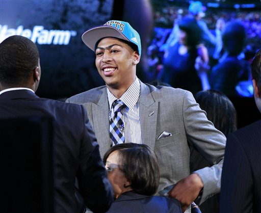 Kentucky forward Anthony Davis stands after he was selected with the No. 1 pick by the New Orleans Hornets in the NBA basketball draft Thursday, June, 28, 2012, in Newark, N.J. (AP Photo/Mel Evans)