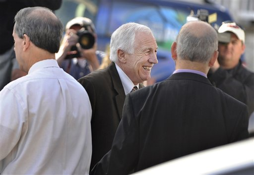 Former Penn State assistant football coach Jerry Sandusky enters the Centre County Courthouse on Thursday in Bellefonte, Pa.