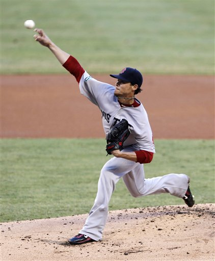 Boston Red Sox's Clay Buchholz pitches to the Miami Marlins in the first inning of an interleague baseball game in Miami, Tuesday, June 12, 2012. (AP Photo/Alan Diaz)