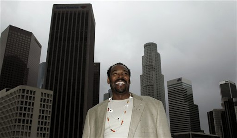This April 13, 2012 photo shows Rodney King posing for a portrait in Los Angeles. King, the black motorist whose 1991 videotaped beating by Los Angeles police officers was the touchstone for one of the most destructive race riots in the nation's history, has died, his publicist said Sunday, June 17, 2012. He was 47. (AP Photo/Matt Sayles, file)
