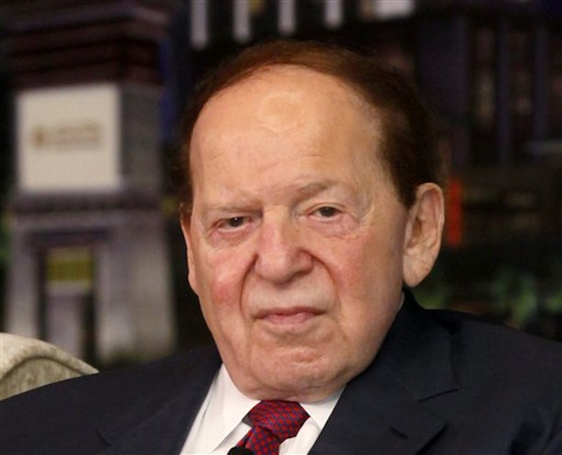 In this April 12, 2012 file photo, Las Vegas Sands Chairman and CEO Sheldon Adelson speaks at a news conference for the Sands Cotai Central in Macau, China. Adelson, who almost single-handedly kept alive New Gingrich's campaign for president, has now given $51 million to the GOP in this election cycle. (AP Photo/Kin Cheung, File)