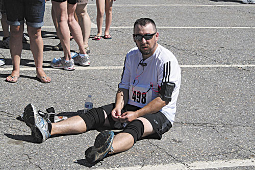 EXHAUSTED: Kennebec Journal / Morning Sentinel Executive Sports Editor Scott Martin completed his first-ever half-marathon Sunday.
