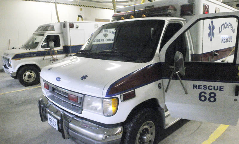 The Litchfield Fire Department has plans to replace these two old trucks with one truck that will do both functions. They are Rescue 69, top, a 1987 Ford Econoline 350 used to refill airtanks and Rescue 68, bottom, a 1994 Ford Econline 350 used as a rescue unit.
