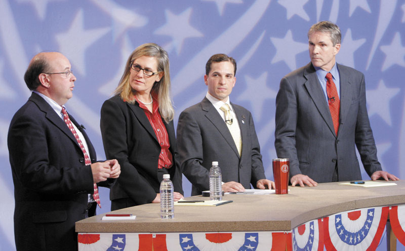 Democratic candidates for U.S. Senate from left, Matt Dunlap, Sen. Cynthia Dill, Benjamin Pollard and Rep. Jon Hinck participate in a debate at WGME studios in Portland on Tuesday.