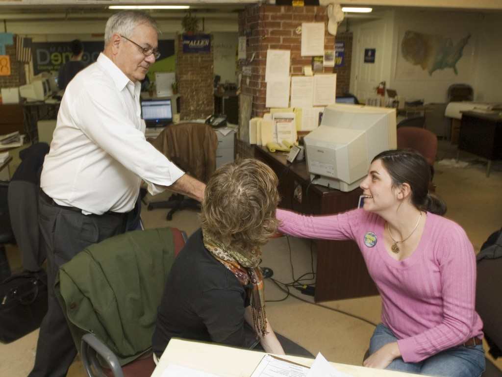 Former U.S. Rep. Barney Frank, D-Mass., says hello to Viveke Arildsen and Jessai Saulnier at the Maine Democratic Party's Portland campaign office in Portland, Maine on Thursday, October 16, 2008. Frank is urging Maine voters to support gay marriage so he can marry his longtime partner.