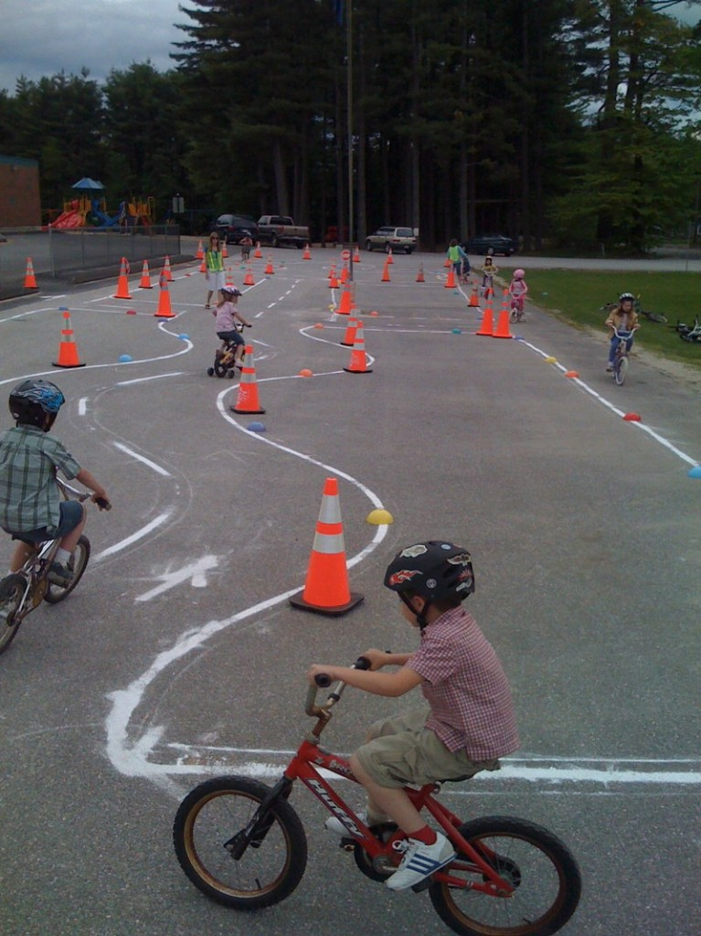 When starting out, children should ride in places that are free of trafffic, including skills courses at bike rodeos, or agility courses parents can set up in their own driveway.