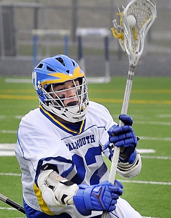 Mitch Tapley scored two goals Saturday, June 16, 2012, to help Falmouth win its its second consecutive Class B boys lacrosse state championship.
