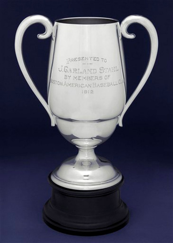 This June 2012 photo released†by Heritage Auctions in Dallas shows the front of a 1912 Boston Red Sox World Series trophy presented to manager Jake Stahl. The trophy, owned by Robert Fraser of Westwood, N.J., is scheduled to be auctioned Aug. 2, 2012, at Camden Yards in Baltimore. (AP Photo/Heritage Auctions)