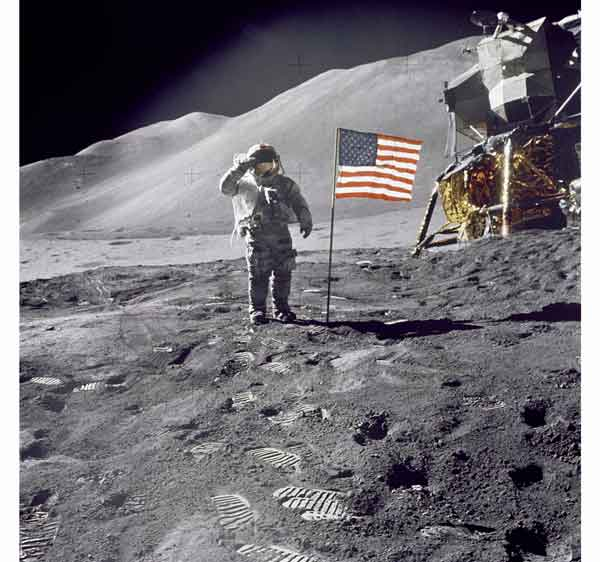 One small step for man, one giant leap toward lunar tourism: Apollo 15 commander Dave Scott salutes the American flag at the Hadley-Apennine lunar landing site. The lunar module Falcon is visible on the right.