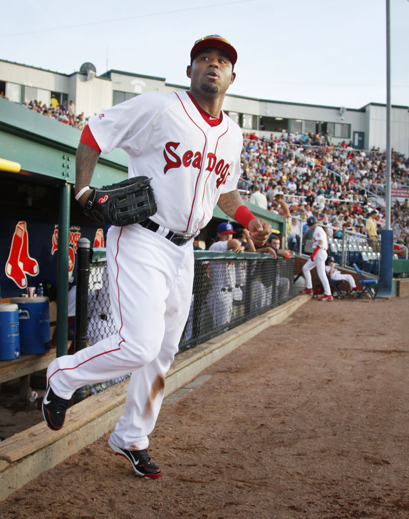 Staff photo by Derek Davis: Portland Sea Dogs vs Trenton Thunder. Carl Crawford takes to the field during a rehab start with Portland. Photographed on Tuesday July 3, 2012.