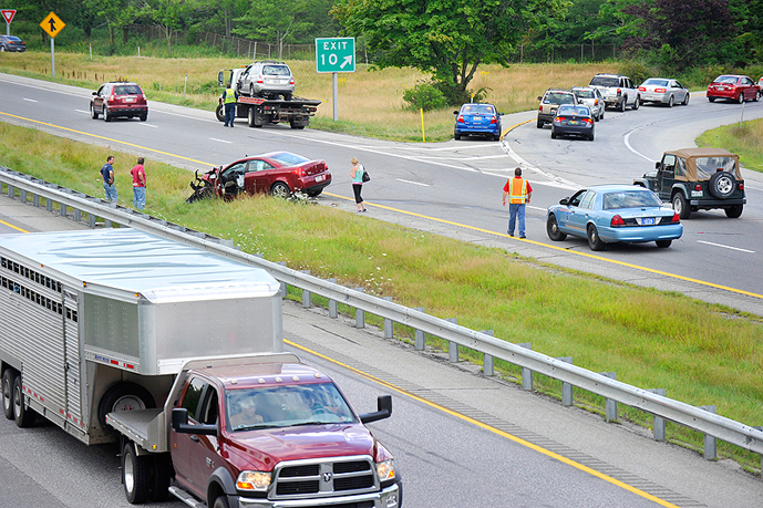 Scene of a four-car accident at Exit 10 on I-295 in Falmouth.