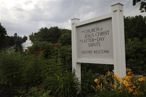 *** ATTN NYC OVERNIGHT - PLEASE HOLD AND MOVE OVERNIGHT WITH STORY EX-WASHINGTON BY KASIE HUNT ** A photo made July 1, 2012, shows the Church of Jesus Christ of Latter-Day Saints in Wolfeboro, N.H., where Republican presidential candidate Mitt Romney attended Sunday services. Romney, the first Mormon to clinch the presidential nomination of a major party, attended services Sunday with his wife, Ann, five sons, five daughters-in-law and eighteen grandchildren. (AP Photo/Charles Dharapak)