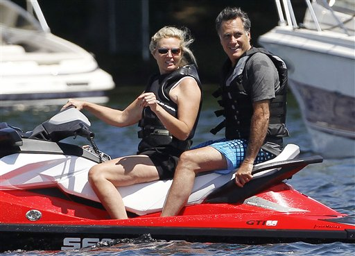 Republican presidential candidate Mitt Romney and wife Ann Romney jet ski on Monday on Lake Winnipesaukee in Wolfeboro, N.H., where Romney has a vacation home.