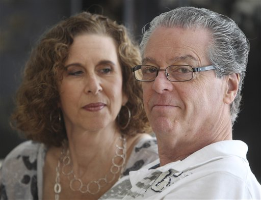"This Sunday, July 8, 2012 photo shows Jason and Karin Marder in their home in New York. Jason Marder, who turned 70 on Tuesday, July 10, 2012, was diagnosed with Alzheimer's more than eight years ago. In the roughly five years that her husband has taken Gammagard, ""there has been decline"" in his health but it is very minimal and the kind of slowing down you might expect from ordinary aging, she said. ""He travels the subways, he does things that you and I do. And our quality of life together is what's most important."" For the first time, researchers are reporting that a treatment might help stabilize Alzheimer's disease for as much as three years, but the evidence is weak and only in four patients, including Jason Marder. The results were discussed Tuesday, July 17, 2012 at an Alzheimer's conference in Vancouver, British Columbia, Canada. (AP Photo/Seth Wenig)"