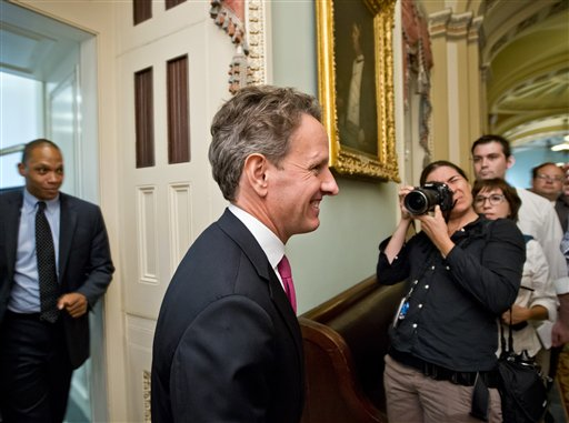 Treasury Secretary Timothy Geithner leaves a closed-door meeting with Senate Democrats on Capitol Hill in Washington, in this July 10, 2012, photo.