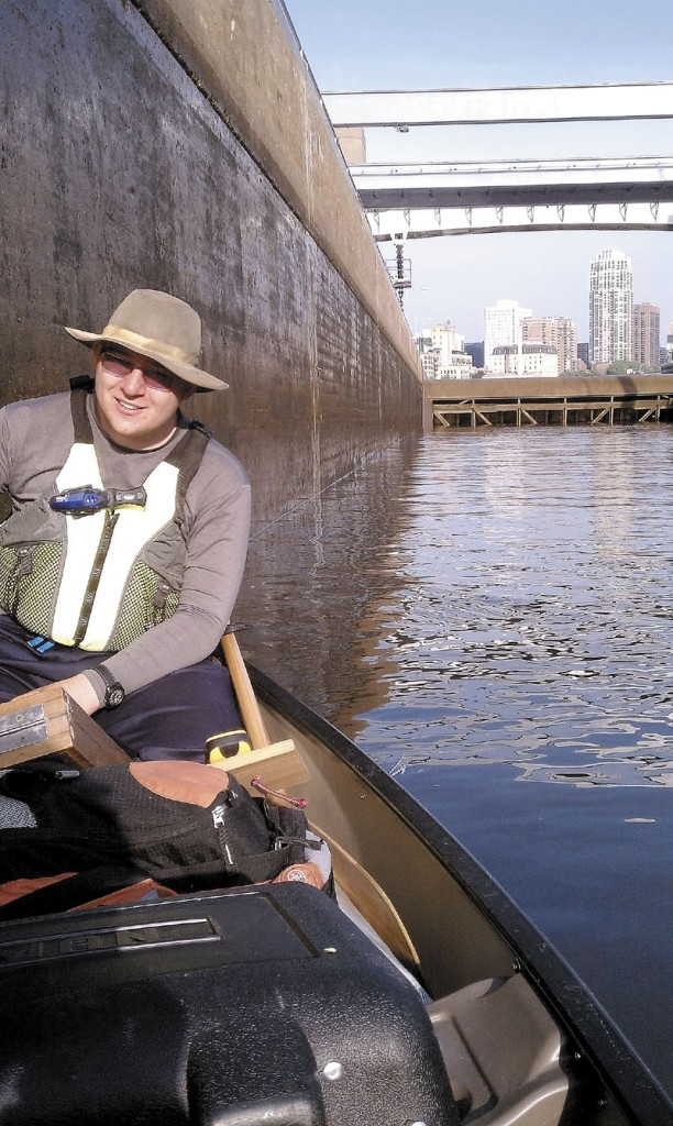 Benton Purnell passes through a series of locks on the Mississippi River in Minnesota during the first part of his journey earlier this summer.