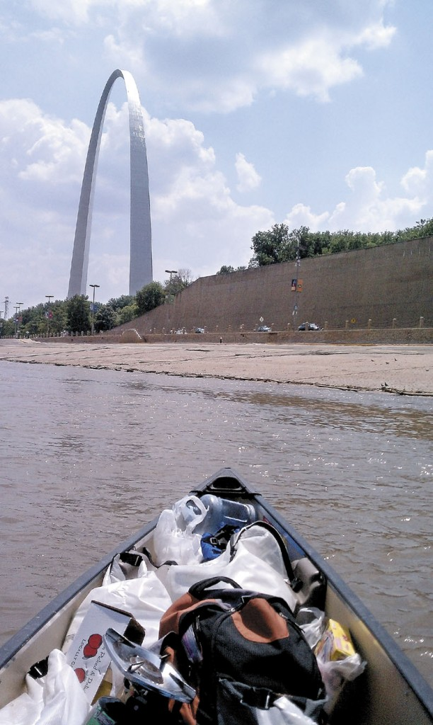 Benton Purnell, not pictured, paddles toward St. Louis and the famed Gateway Arch.