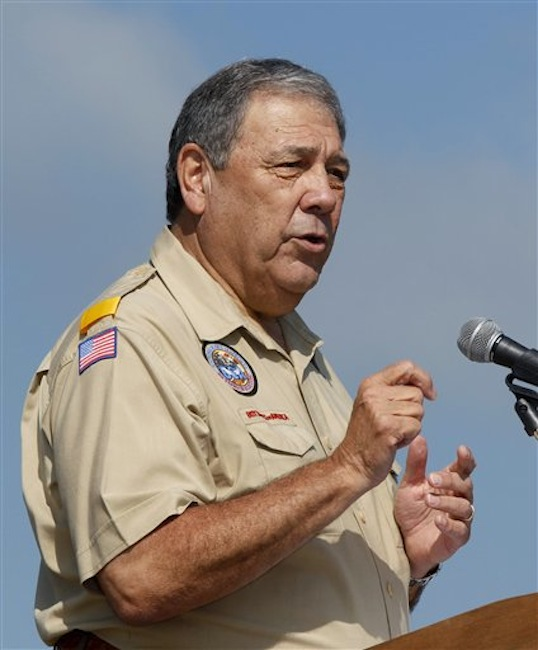 "In this Saturday, May 21, 2011 file photo, Robert Mazzuca, Chief Scout Executive of the Boy Scouts of America, speaks to a gathering of Boy Scouts during ceremonies at New Jersey's Boy Scouts Camporee in Sea Girt, N.J. After a confidential two-year review, the Boy Scouts of America on Tuesday, July 17, 2012 emphatically reaffirmed its policy of excluding gays, ruling out any changes despite relentless protest campaigns by some critics. ""The vast majority of the parents of youth we serve value their right to address issues of same-sex orientation within their family, with spiritual advisers and at the appropriate time and in the right setting,"" Mazzuca said. (AP Photo/Mel Evans)"