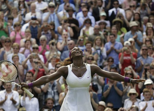 Serena Williams of the United States reacts after defeating Victoria Azarenka of Belarus during a semifinals match at the All England Lawn Tennis Championships on Thursday at Wimbledon, England.