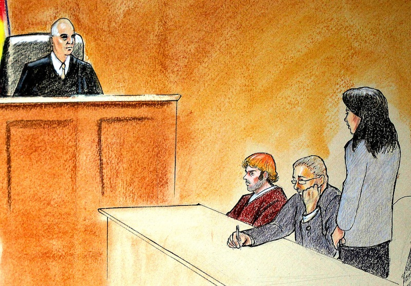 In this courtroom sketch, suspect James Holmes, third from right, sits in district court Monday, July 30, 2012, in Centennial, Colo., during his arraignment where he was formally charged with 24 counts of murder and 116 counts of attempted murder in the shooting rampage at an Aurora movie theater, on July 20. From left are: District Judge William Blair Sylvester; suspect James Holmes; and defense attorneys Daniel King and Tamara Brady. (AP Photo/Jeff Kandyba, Pool)