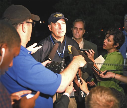 Aurora, Colo., Police Chief Daniel Oates talks to media at Aurora Mall where 12 people were killed at the Century 16 movie theater today.