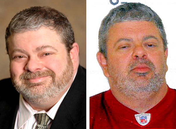 Timothy Courtois, as he appeared in 2011, left, and as he appeared on Sunday after his arrest by Maine State Police.