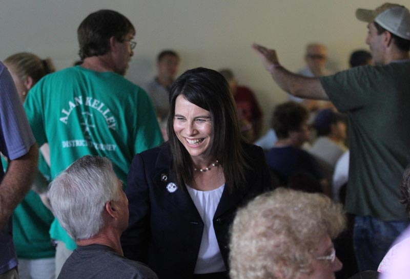 Rep. Maeghan Maloney, D-Augusta, chats with attorney Tom Tilton of Waterville prior to a special meeting to nominate either her or acting District Attorney Alan Kelley of West Gardiner as the Democrat candidate to succeed Evert Fowle. The meeting was held at the Poulin-Turner Union Hall in Skowhegan.