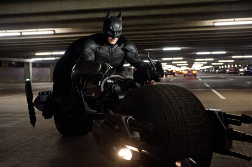"This undated film image released by Warner Bros. Pictures shows Christian Bale as Batman in a scene from the action thriller ""The Dark Knight Rises."" (AP Photo/Warner Bros. Pictures, Ron Phillips) Christian Bale"
