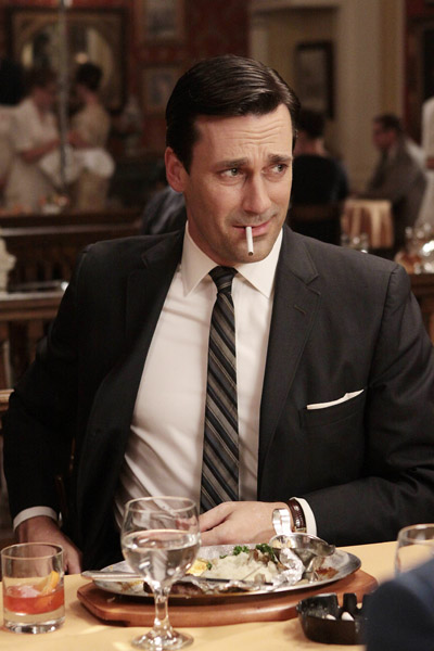 "In this publicity image released by AMC, Jon Hamm portrays Don Draper in the AMC series, ""Mad Men."" The series was nominated for an Emmy for best drama series, and Jon Hamm was nominated for best actor in a drama series on Thursday, July 14, 2011. The Emmy awards will be presented on Sept. 18. (AP Photo/AMC)"