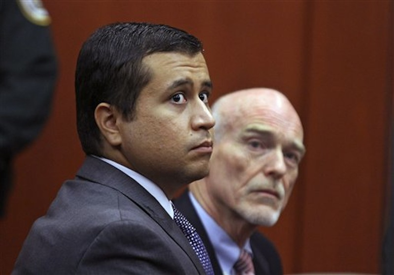 In this June 29, 2012 file photo, George Zimmerman, left, and attorney Don West appear before Circuit Judge Kenneth R. Lester, Jr. during a bond hearing at the Seminole County Criminal Justice Center in Sanford, Fla. Zimmerman has asked for a new judge, claiming the current one is biased against him. (AP Photo/Orlando Sentinel, Joe Burbank, Pool, File)