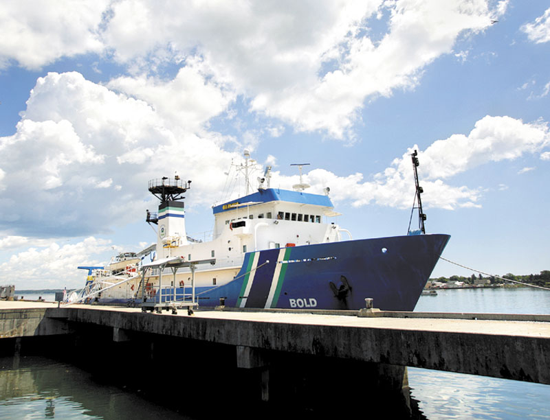The Ocean Survey Vessel Bold docks in Portland on Monday. The Bold will travel 15 miles off the Maine coast to map as much as an 800-square-mile area of the ocean floor.