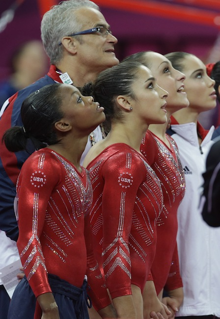 during the Artistic Gymnastics women's team final at the 2012 Summer Olympics, Tuesday, July 31, 2012, in London. (AP Photo/Julie Jacobson) 2012 London Olympic Games Summer Olympic games Olympic games Sports Events XXX Olympiad