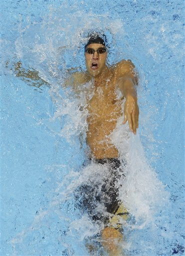 United States' Matthew Grevers competes in the men's 100-meter backstroke swimming final Monday at the Aquatics Centre in the Olympic Park during the 2012 Summer Olympics in London.