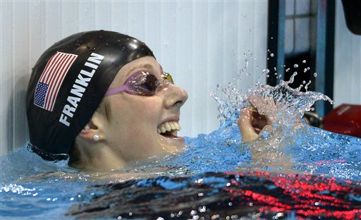 United States' Missy Franklin reacts after winning gold in the women's 100-meter backstroke swimming final Monday at the Aquatics Centre in the Olympic Park during the 2012 Summer Olympics in London.
