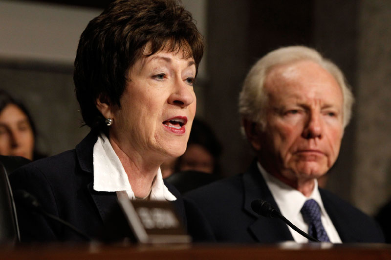 Senate Homeland Security and Governmental Affairs Committee Chairman Sen. Joseph Lieberman, I-Conn, listens at right, as the committee's ranking Republican, Sen. Susan Collins, R-Maine speaks on Capitol Hill in Washington, Wednesday, May 23, 2012, during the committee's hearing where U.S. Secret Service Director Mark Sullivan and the Department of Homeland Security's acting Inspector General Charles K. Edwards testified. (AP Photo/Charles Dharapak)