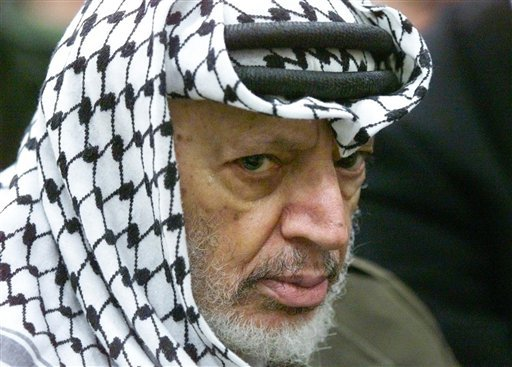 A May 31, 2002, photo of Yasser Arafat. The Palestinian leader died at a military hospital outside Paris in November 2004 of what French doctors called a massive brain hemorrhage – weeks after he fell violently ill at his West Bank compound.