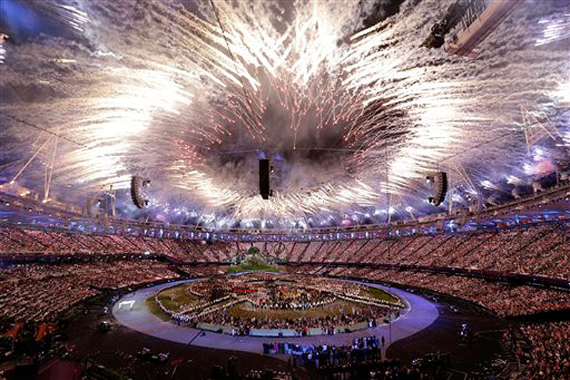 Fireworks explode during the Opening Ceremony at the 2012 Summer Olympics, Friday, July 27, 2012, in London. (AP Photo/Paul Sancya) 2012 London Olympic Games Summer Olympic games Olympic games Spo