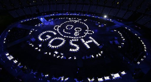 Artists perform during the Opening Ceremony at the 2012 Summer Olympics, Friday, July 27, 2012, in London. (AP Photo/Morry Gash, Pool) 2012 London Olympic Games Summer Olympic games Olympic games Sports Events XXX Olympiad