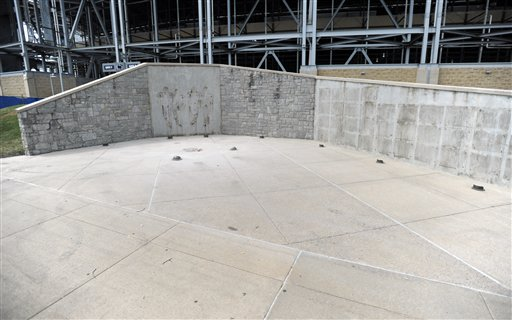 The area where Joe Paterno's statue once stood outside Beaver Stadium in State College, Pa. The famed statue of the late former Penn State college football coach was taken down Sunday, eliminating a key piece of the iconography surrounding the once-sainted football coach accused of burying child sex abuse allegations against retired assistant Jerry Sandusky.
